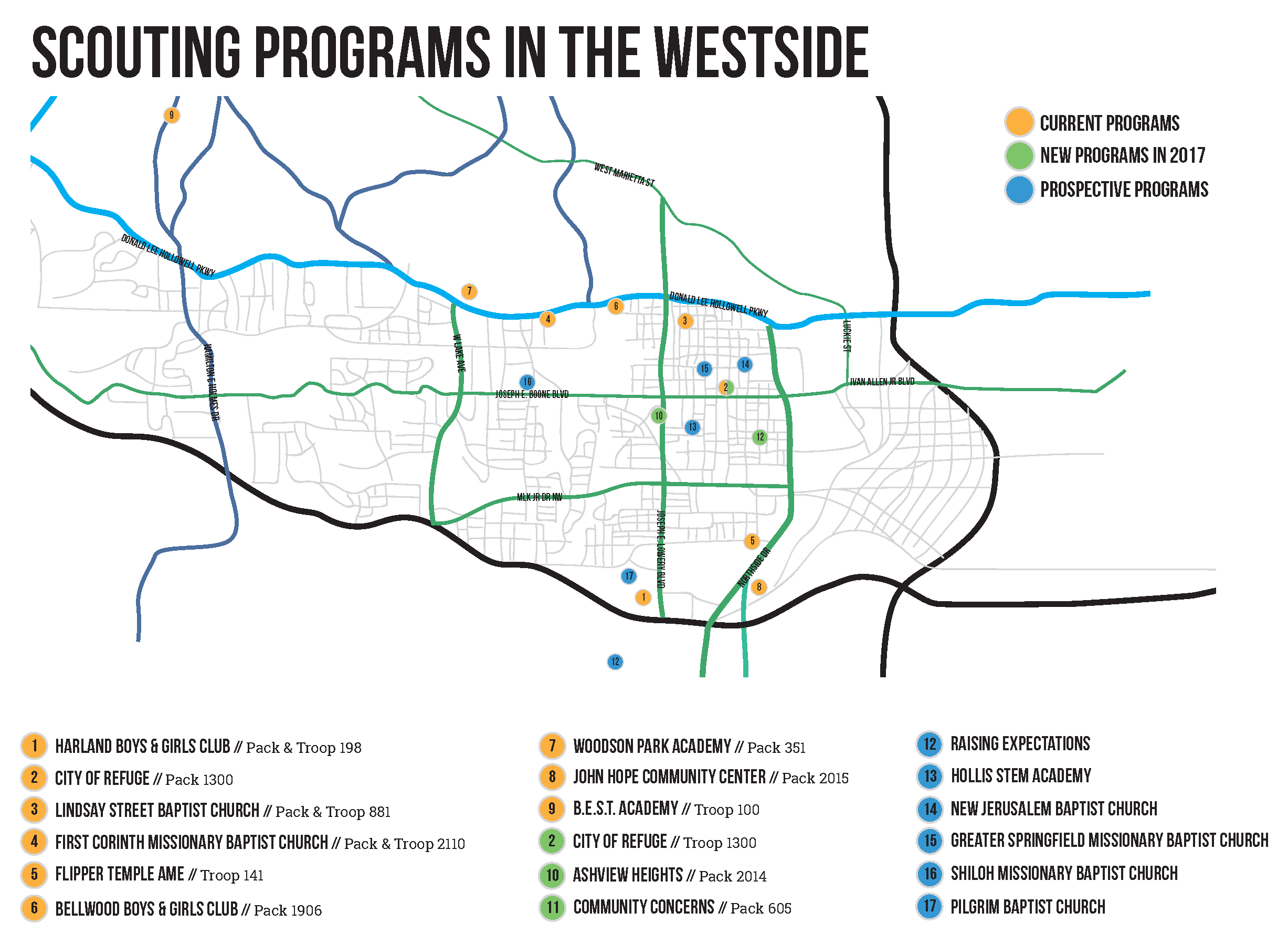 Map of Scouting Units on the Westside
