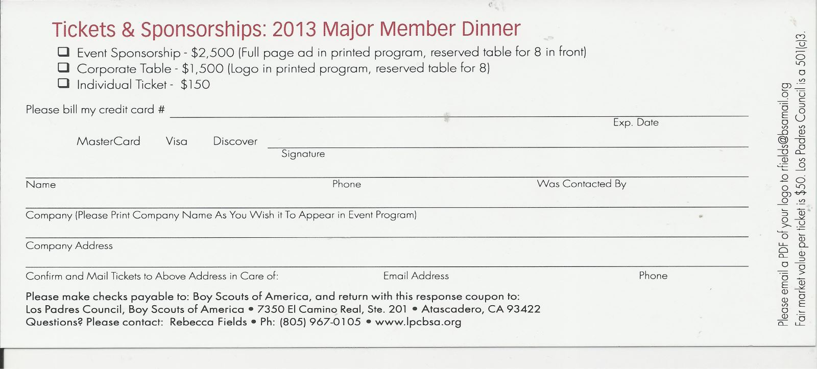 2013 Major Member Dinner Reservation Stub