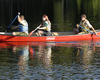 A venturing group rows in a canoe