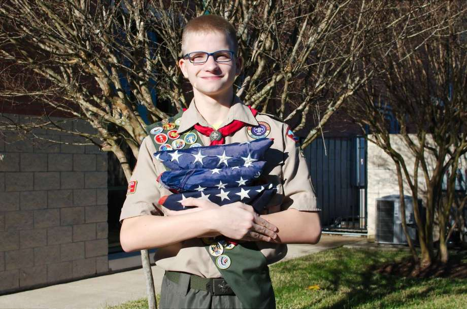 Scout from Bay Area Council Flag Retirement
