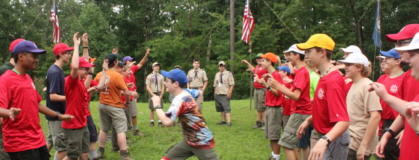 Scouts playing a game at NYLT