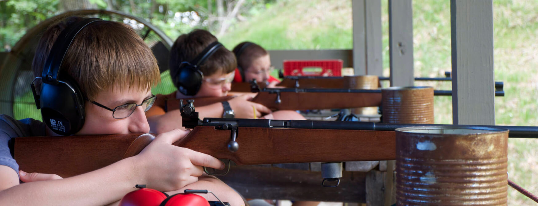 Scouts taking aim at rifle range