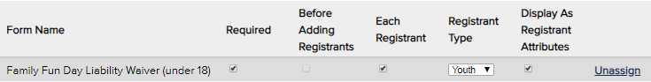 Assigning a form to a single registrant type