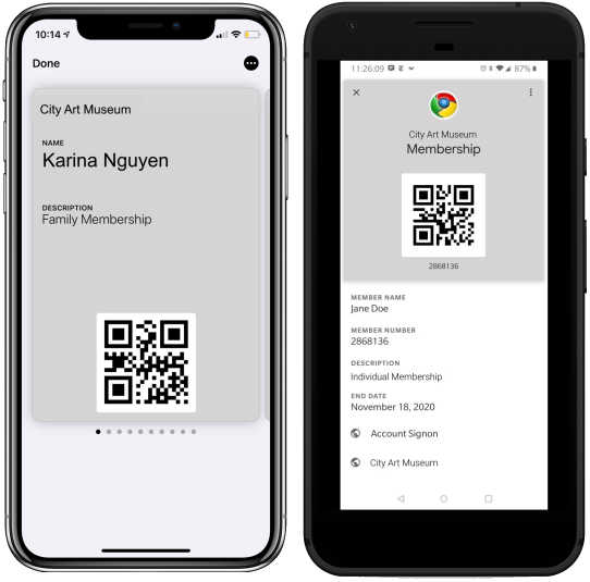 Digital memberships cards for Android and iPhones