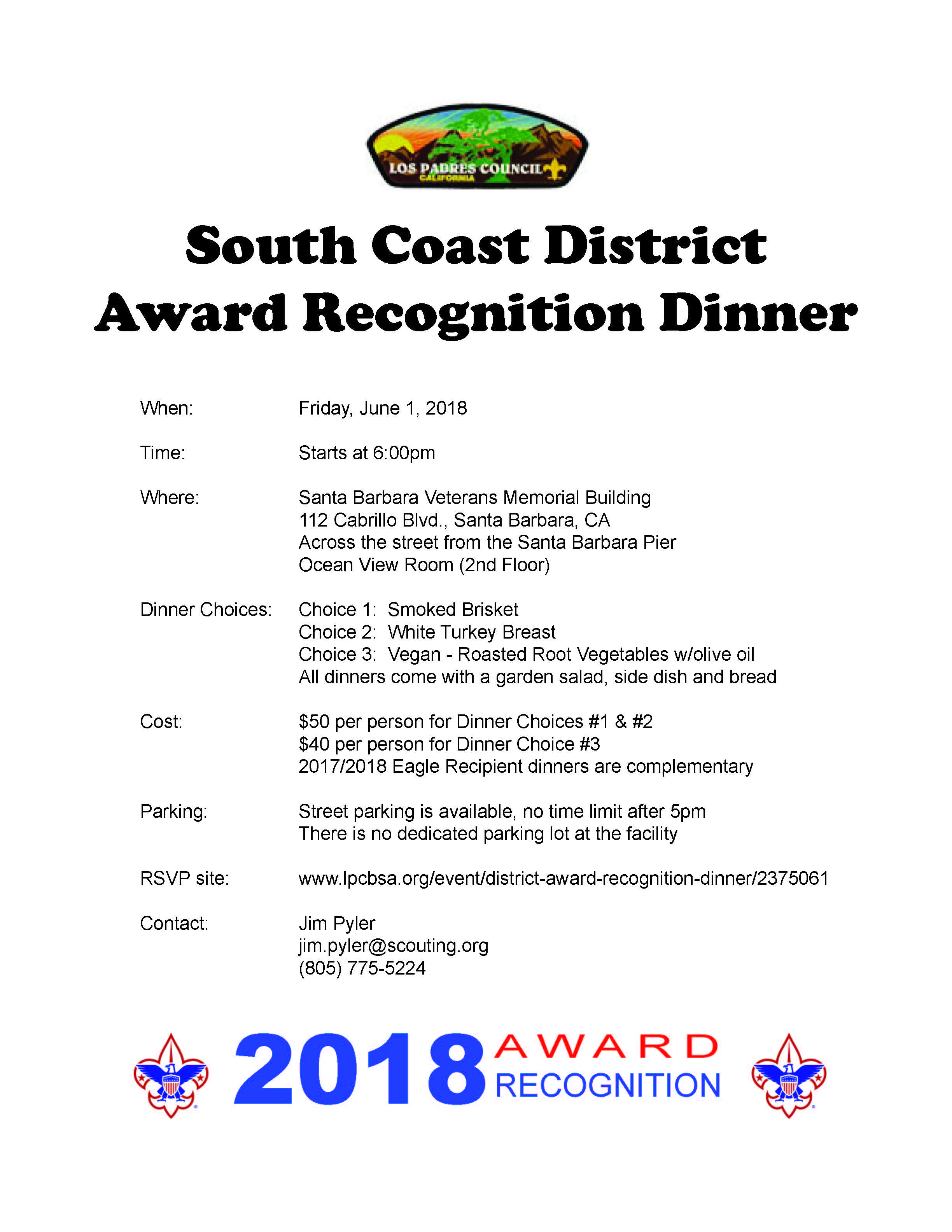 2018 South Coast Dinner Flyer