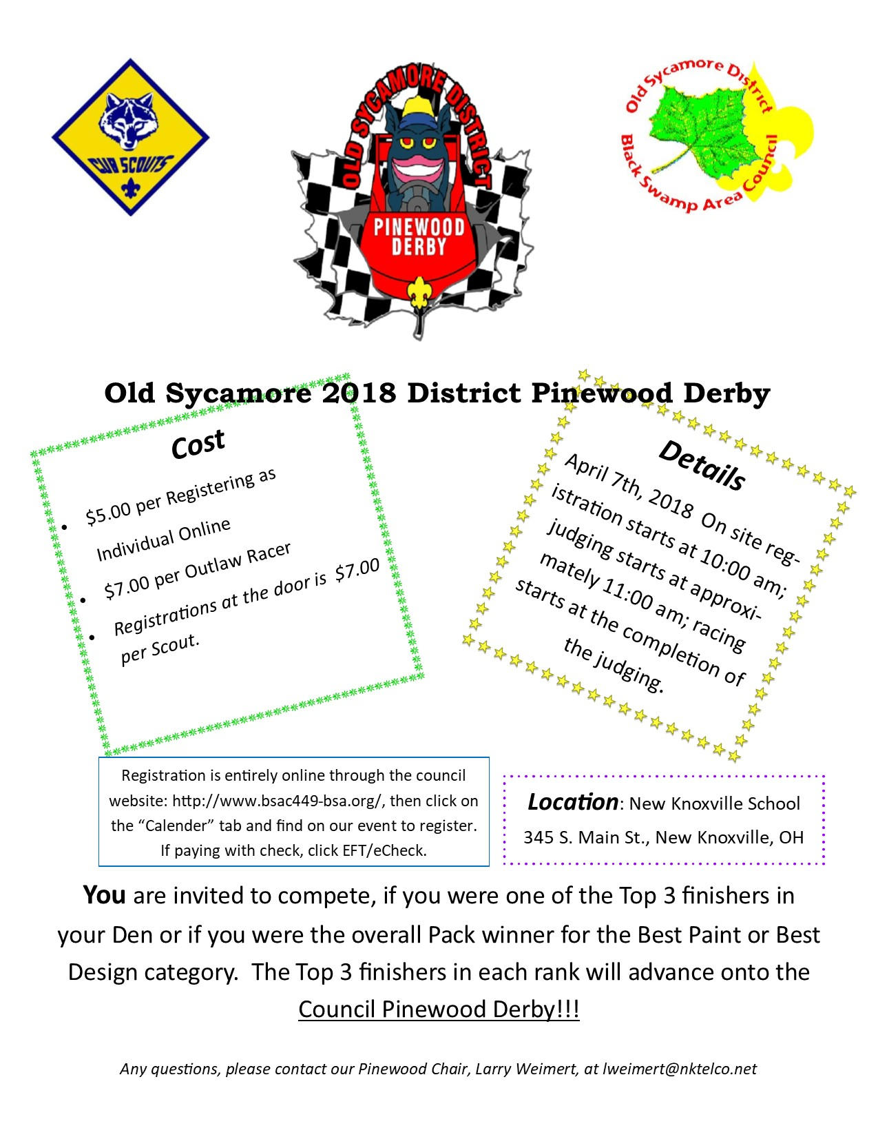picture regarding Pinewood Derby Awards Printable known as 2018 Aged Sycamore District Pinewood Derby