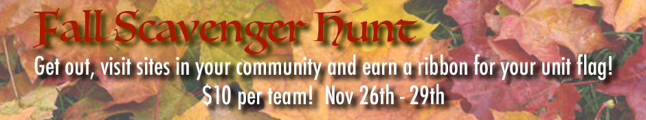 Fall Scavenger Hunt, Nov 26-29, $10/team