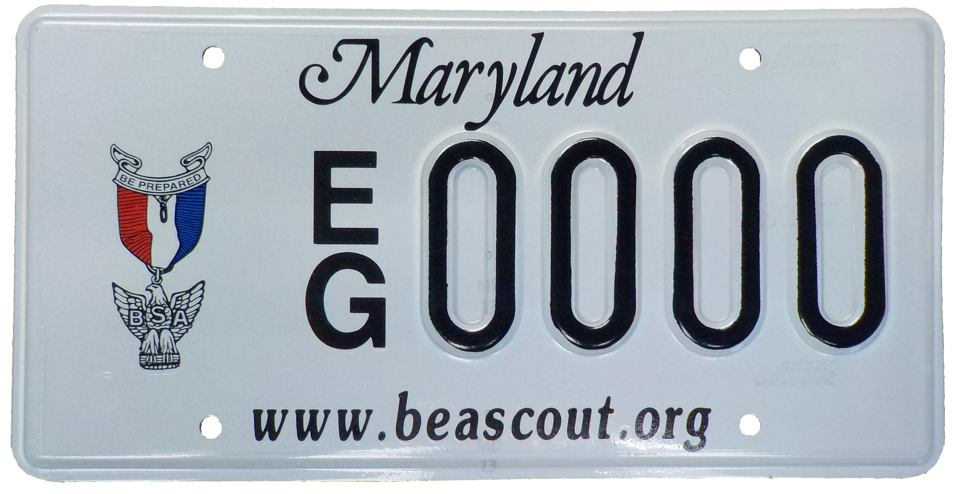 Mock up of the new Eagle Scout MD state license plate